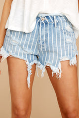 1 We're Vibing Light Wash Striped Distressed Denim Shorts at reddressboutique.com