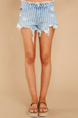 2 We're Vibing Light Wash Striped Distressed Denim Shorts at reddressboutique.com