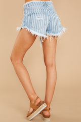 3 We're Vibing Light Wash Striped Distressed Denim Shorts at reddressboutique.com