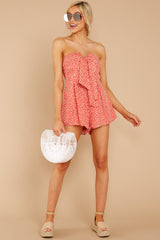 1 Never Late Coral Print Romper at reddressboutique.com