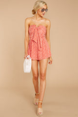 2 Never Late Coral Print Romper at reddressboutique.com