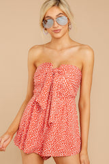 3 Never Late Coral Print Romper at reddressboutique.com