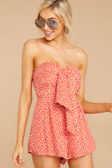 6 Never Late Coral Print Romper at reddressboutique.com