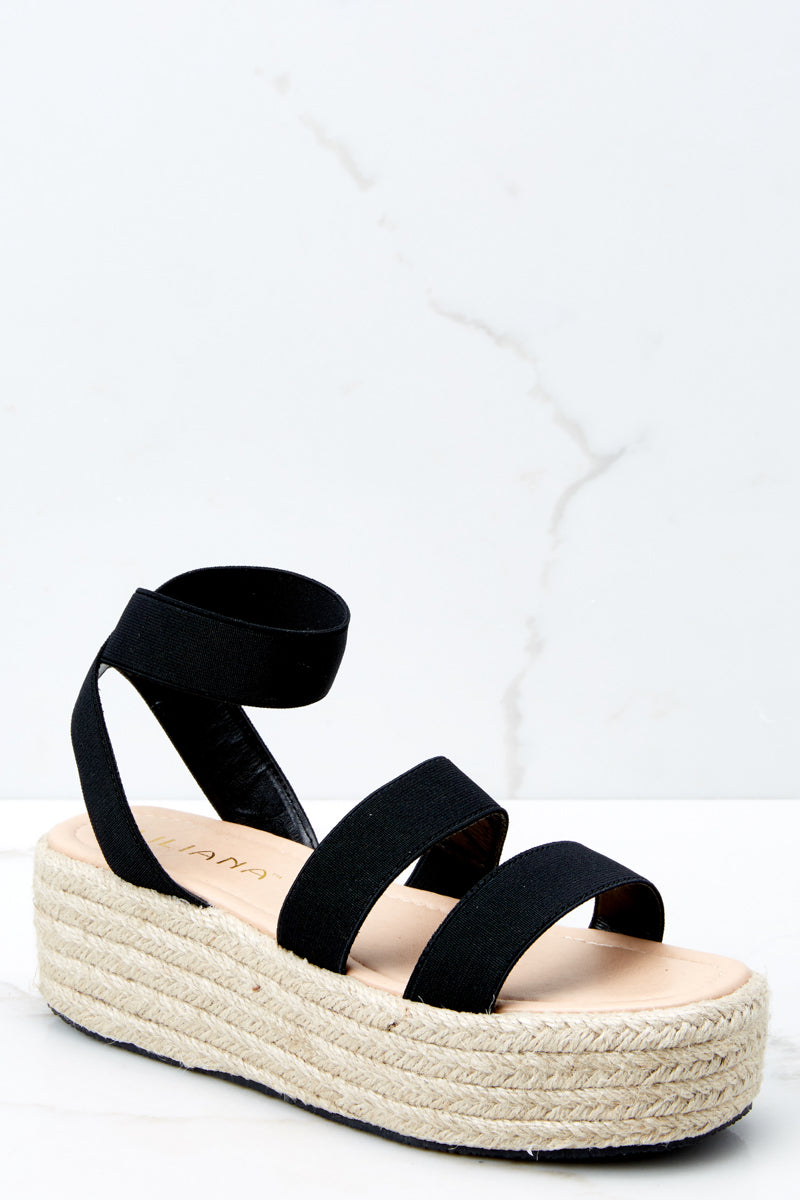 af6a6cbc8bd Flirty Black Ankle Strap Wedge Sandals - Flatform Wedges - Shoes ...