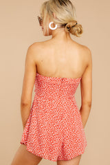 7 Never Late Coral Print Romper at reddressboutique.com
