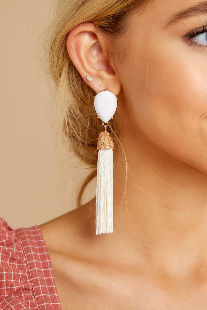 4 The Last Moment Ivory Tassel Earrings at reddressboutique.com