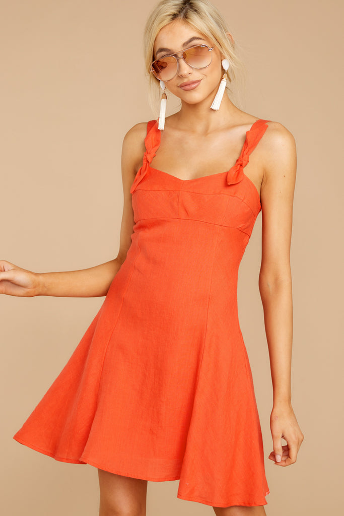 1 Waking Momentum Tangerine Orange Dress at reddressboutique.com
