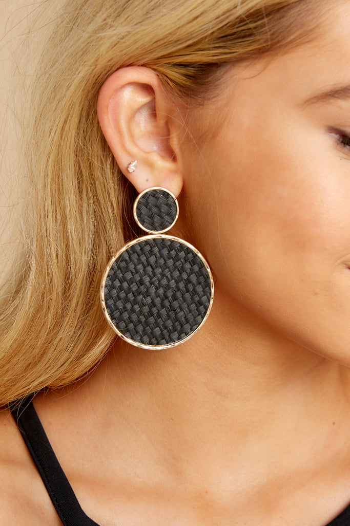 Keep It Interesting Black Earrings