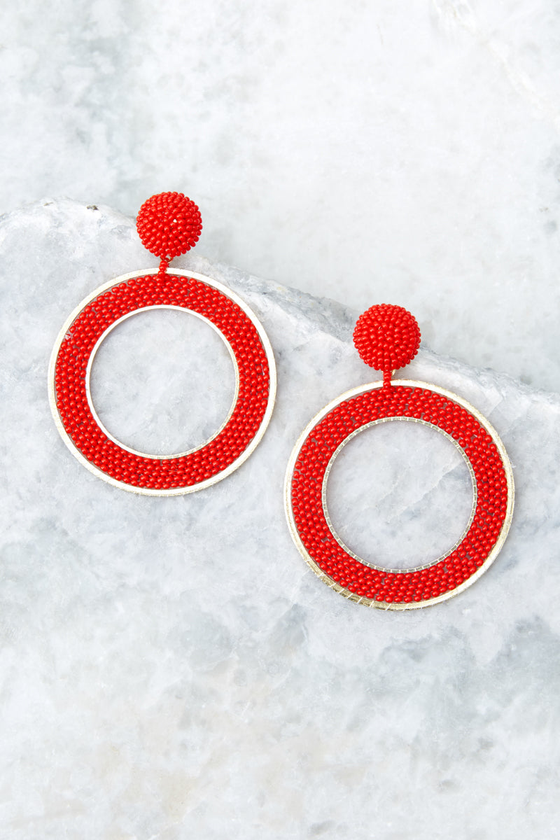 1 Spirit Clean Red Beaded Earrings at reddressboutique.com