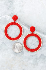 2 Spirit Clean Red Beaded Earrings at reddressboutique.com