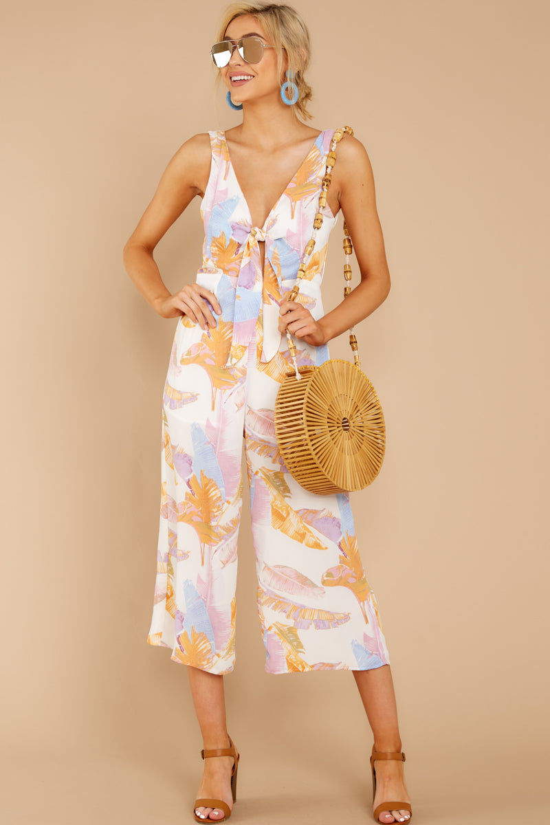 2 Just So You Know Orange Multi Palm Print Midi Jumpsuit at reddressboutique.com