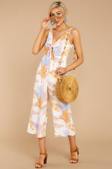 1 Just So You Know Orange Multi Palm Print Midi Jumpsuit at reddressboutique.com