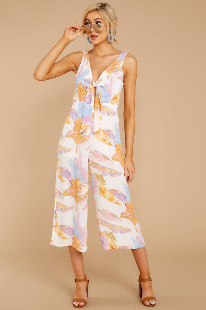 3 Just So You Know Orange Multi Palm Print Midi Jumpsuit at reddressboutique.com