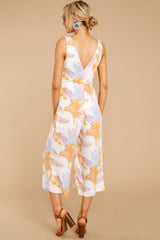 5 Just So You Know Orange Multi Palm Print Midi Jumpsuit at reddressboutique.com