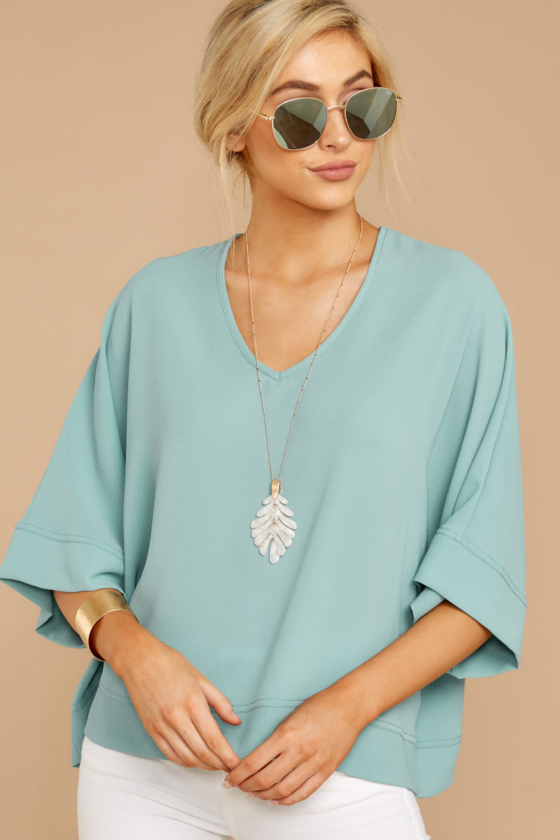4 Comin' For You Seafoam Top at reddressboutique.com