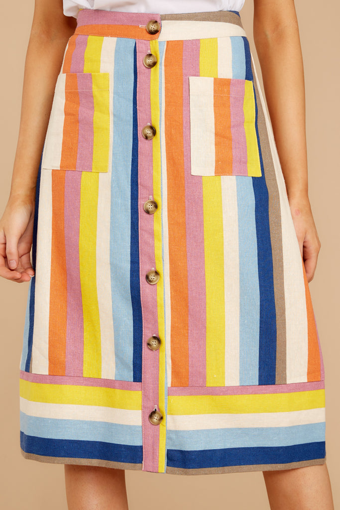 Blooming With Love Orange Rainbow Stripe Midi Skirt