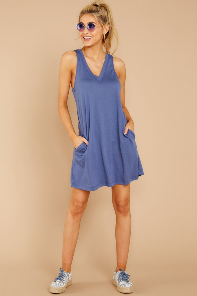 1 The Airy Slub Pocket Tee In Dusty Blue at reddressboutique.com