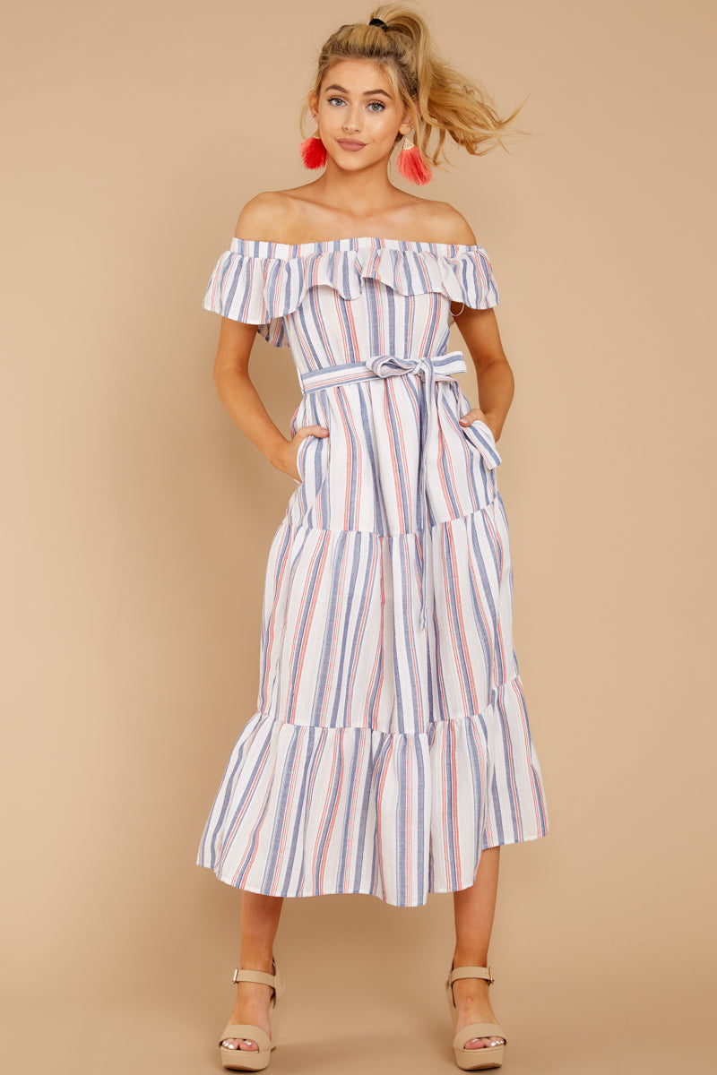 1 Right By My Side Pink And Blue Stripe Midi Dress at reddressboutique.com