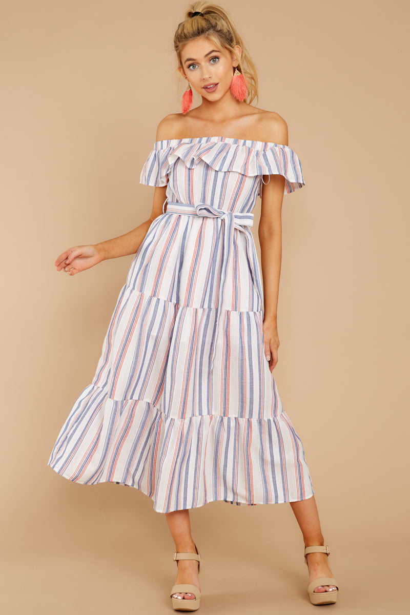 2 Right By My Side Pink And Blue Stripe Midi Dress at reddressboutique.com