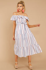 3 Right By My Side Pink And Blue Stripe Midi Dress at reddressboutique.com