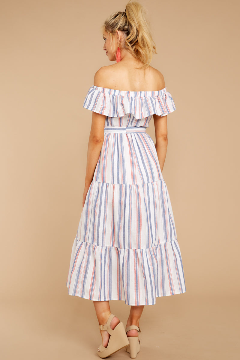 5 Right By My Side Pink And Blue Stripe Midi Dress at reddressboutique.com
