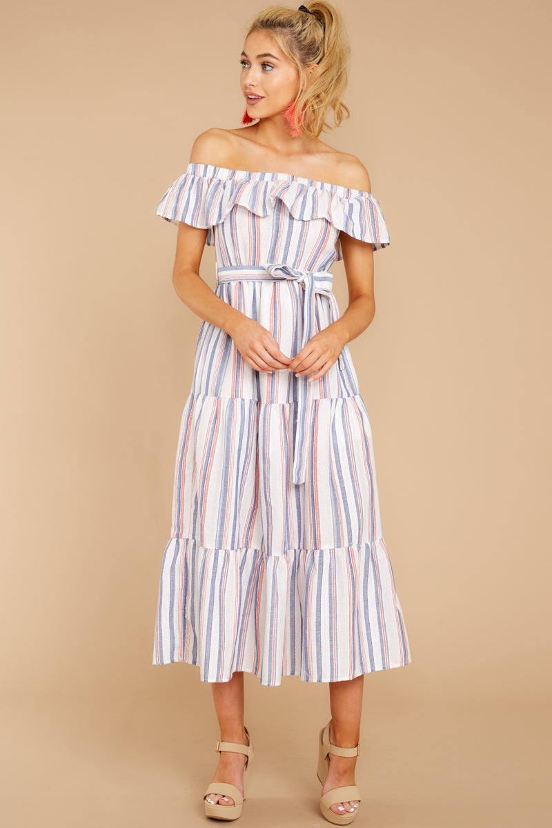 4 Right By My Side Pink And Blue Stripe Midi Dress at reddressboutique.com