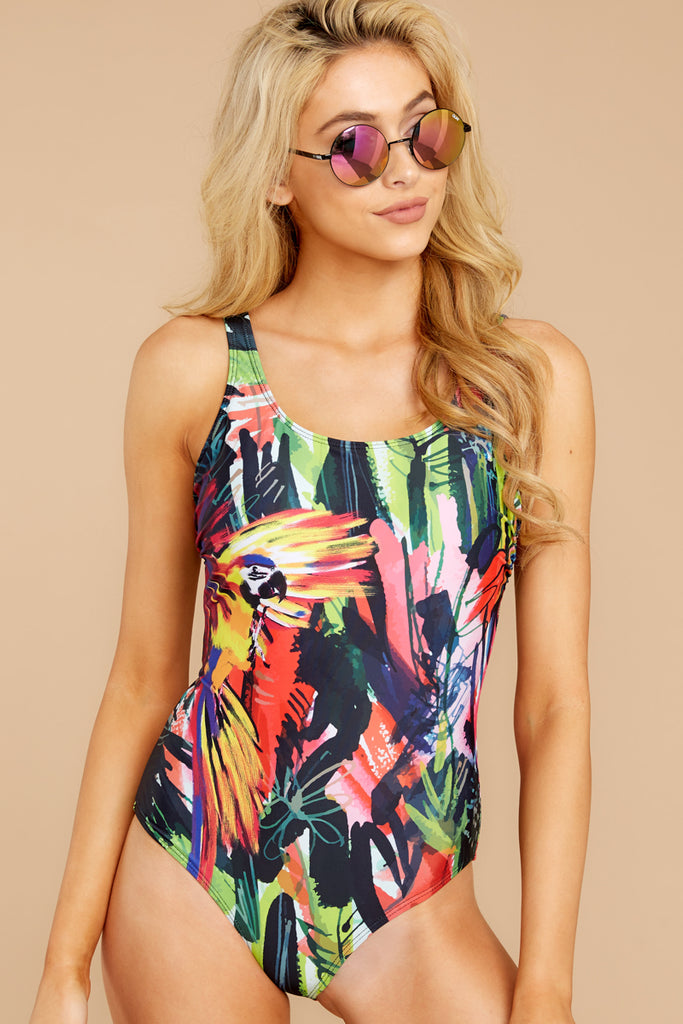 My Next Escapade Pink And Green Leaf Print One Piece