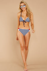 Chasing The Sun Navy Stripe Bikini Top