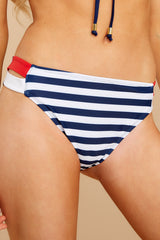 1 Chasing The Sun Navy Stripe Bikini Bottom at reddressboutique.com