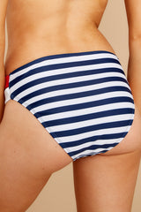 2 Chasing The Sun Navy Stripe Bikini Bottom at reddressboutique.com