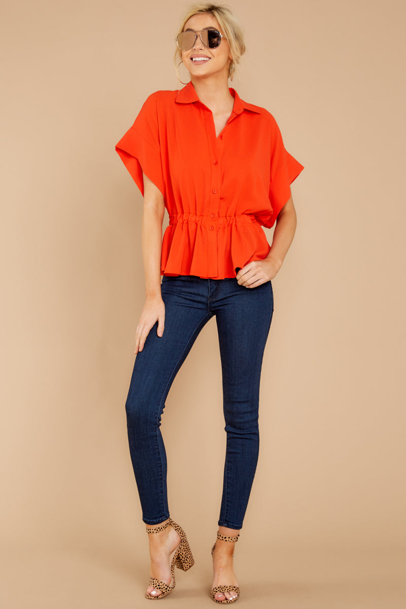 1 Still Deciding Tomato Button Up Top at reddressboutique.com