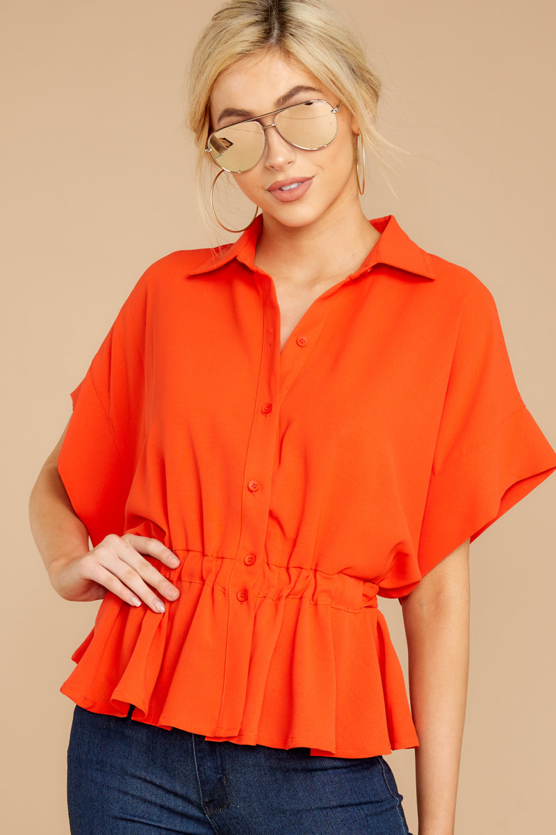 3 Still Deciding Tomato Button Up Top at reddressboutique.com