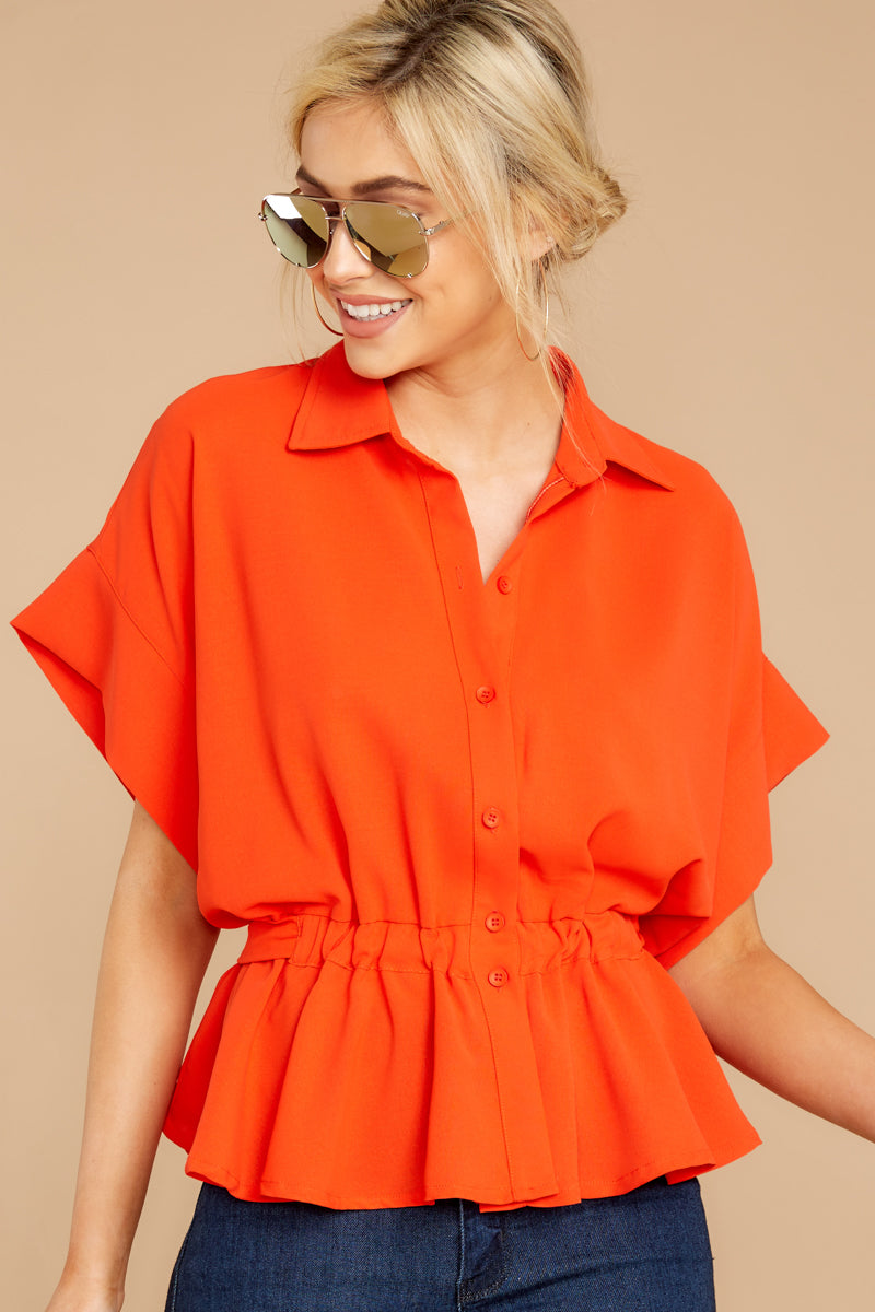 4 Still Deciding Tomato Button Up Top at reddressboutique.com