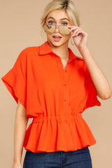 5 Still Deciding Tomato Button Up Top at reddressboutique.com