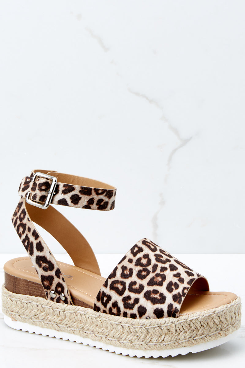 cdf52d89bd6 Sexy Brown Leopard Print Wedge Sandals - Flatform Wedges - Shoes ...