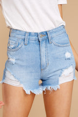 1 Feel The High Light Wash Distressed Denim Shorts at reddressboutique.com