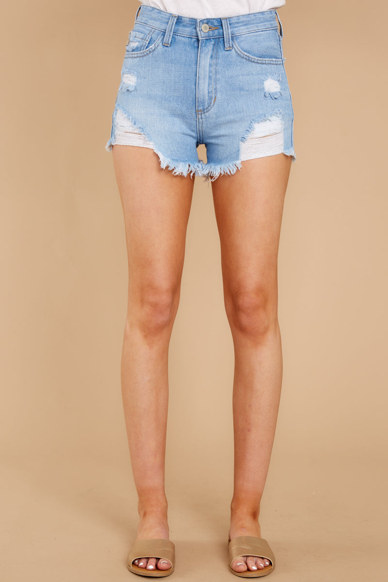3 Feel The High Light Wash Distressed Denim Shorts at reddressboutique.com