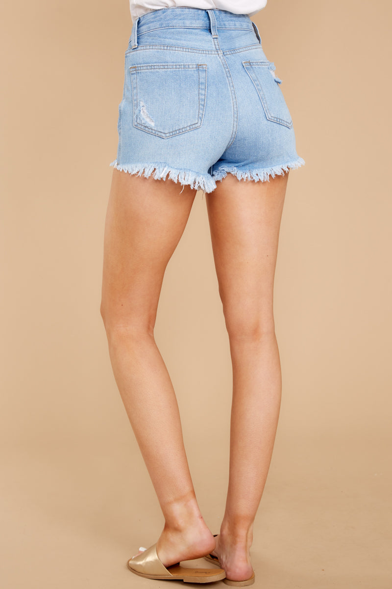 4 Feel The High Light Wash Distressed Denim Shorts at reddressboutique.com