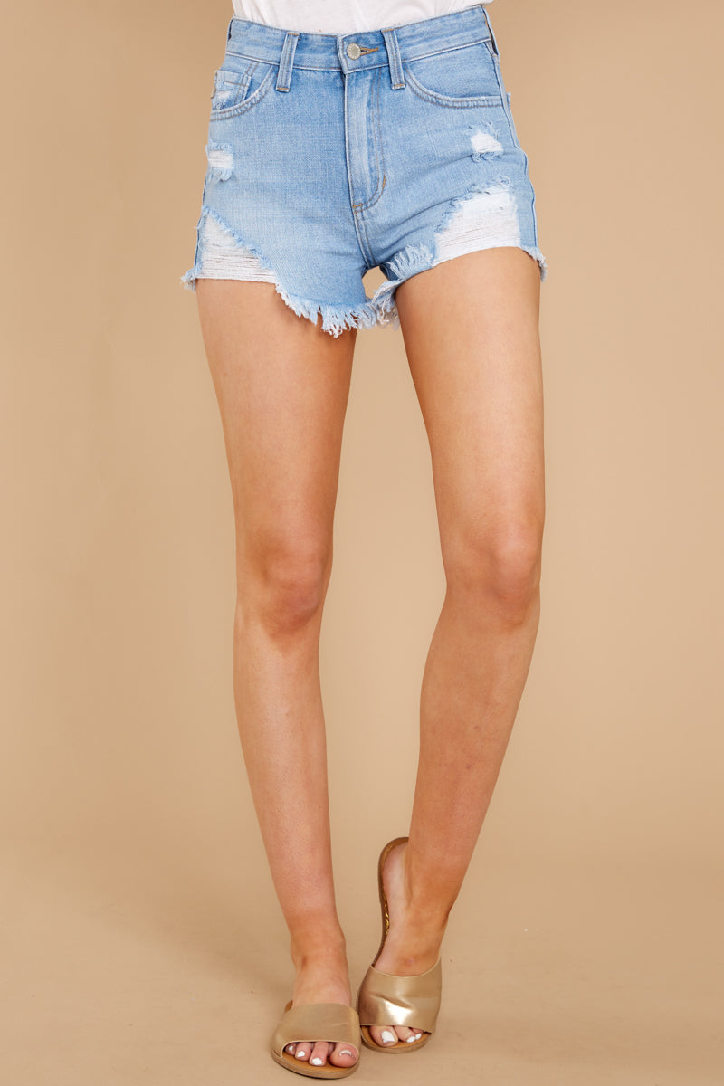 2 Feel The High Light Wash Distressed Denim Shorts at reddressboutique.com