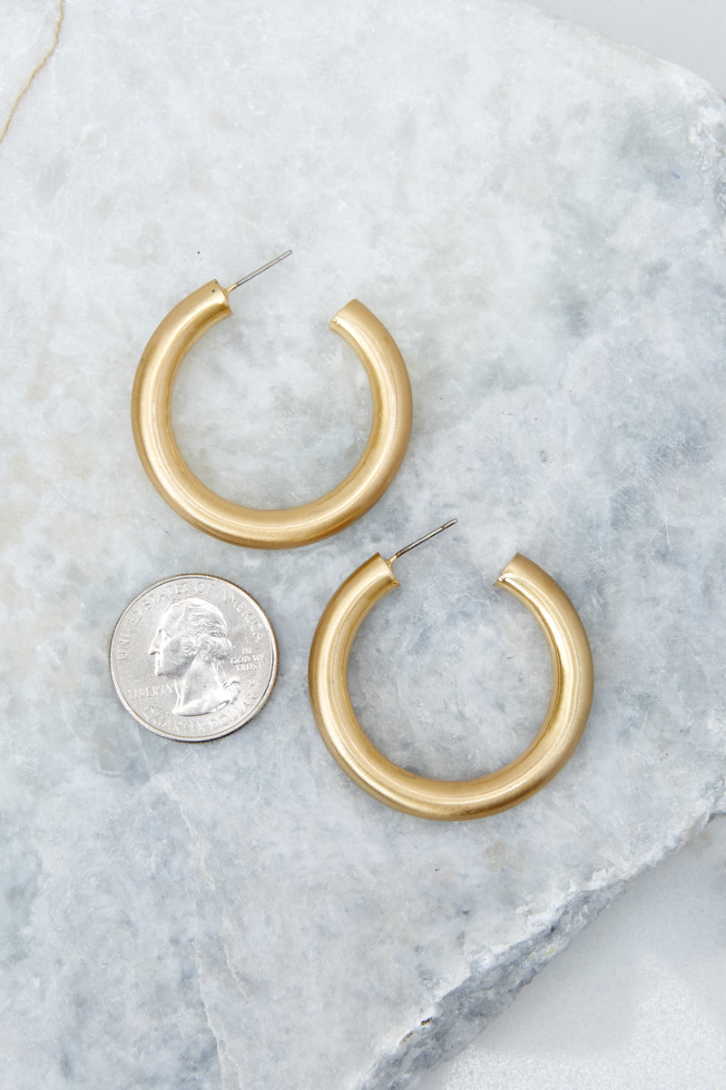 1 Over Your Head Gold Hoop Earrings at reddressboutique.com