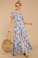 Floral Print Spring Pocketed Tiered Off the Shoulder Ruffle Trim Jumpsuit