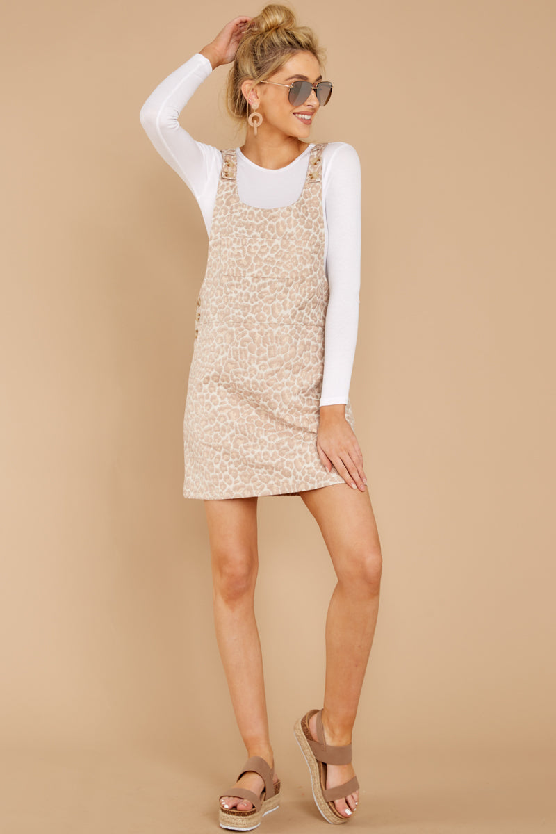 1 Changing Perspective Beige Leopard Print Overall Dress at reddressboutique.com
