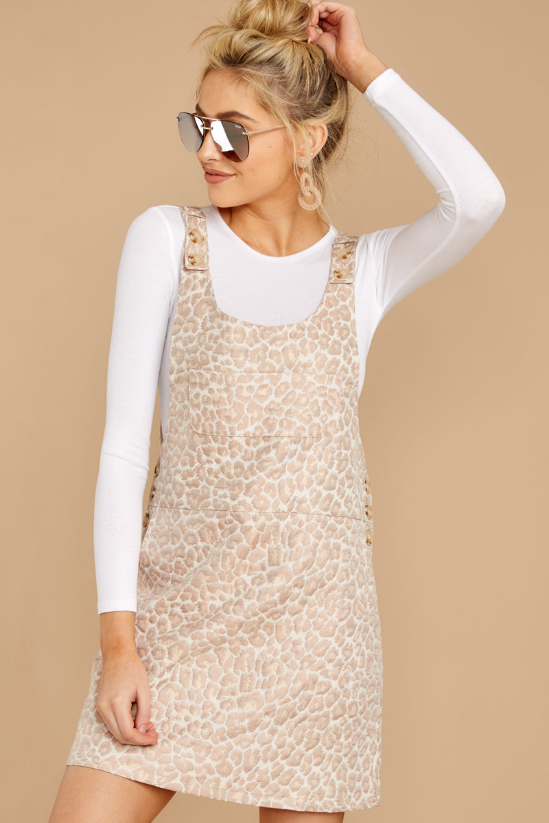 3 Changing Perspective Beige Leopard Print Overall Dress at reddressboutique.com