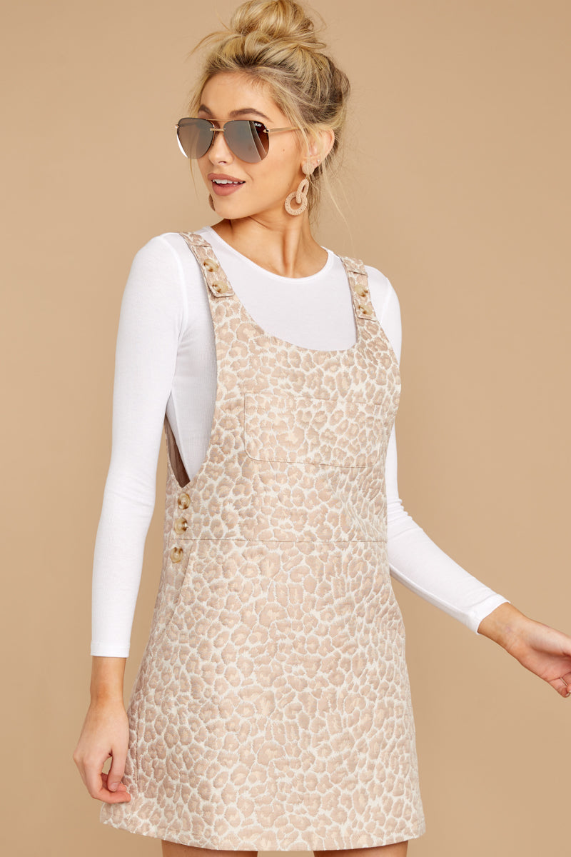4 Changing Perspective Beige Leopard Print Overall Dress at reddressboutique.com
