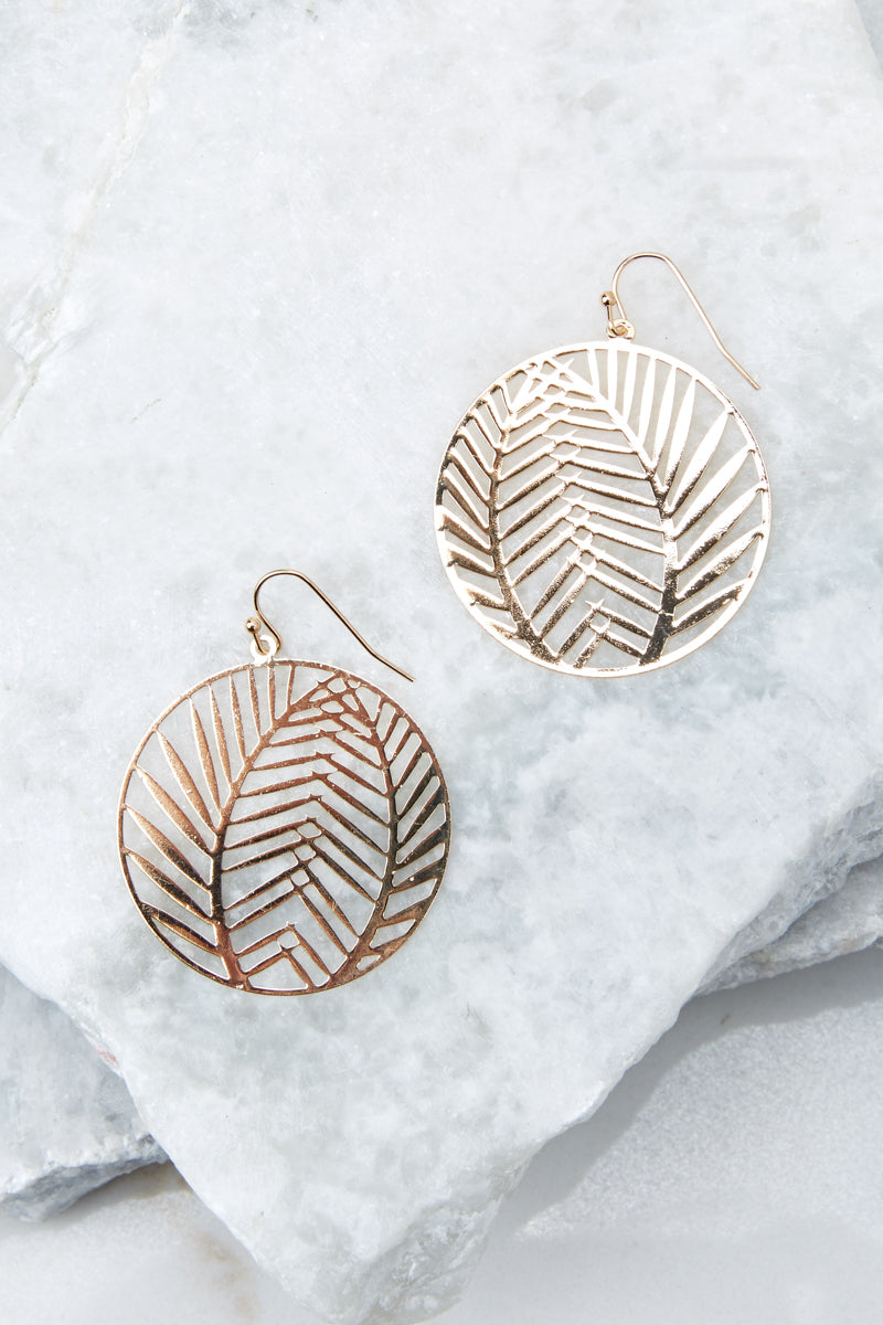 1 Leaf It Alone Gold Earrings at reddressboutique.com