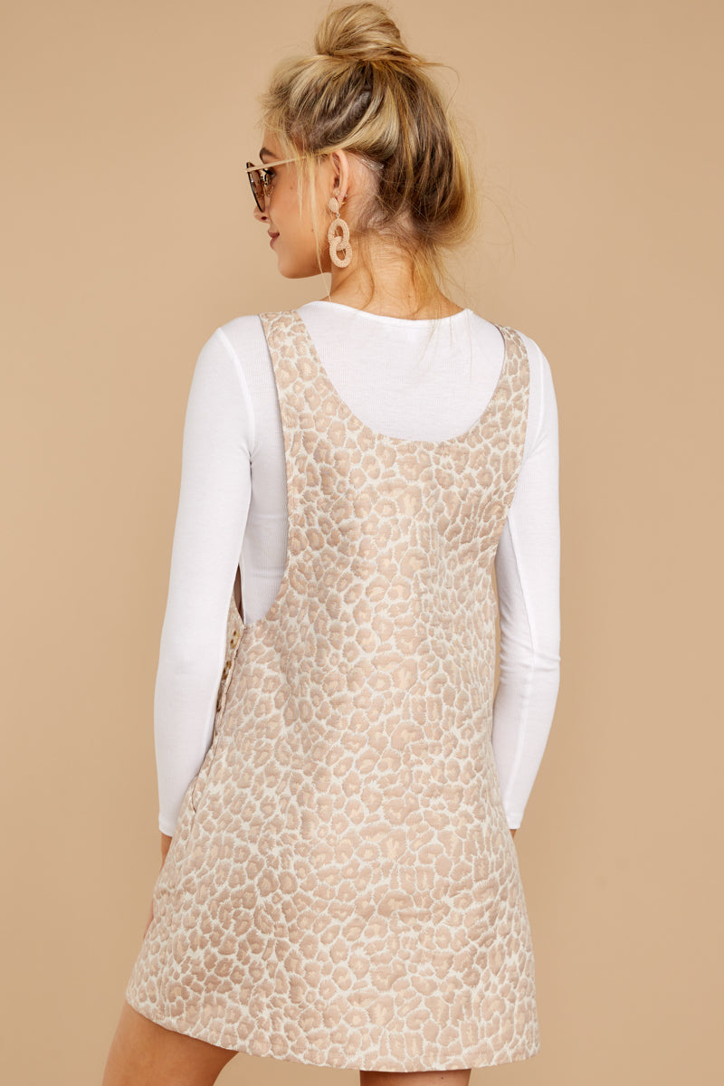 5 Changing Perspective Beige Leopard Print Overall Dress at reddressboutique.com