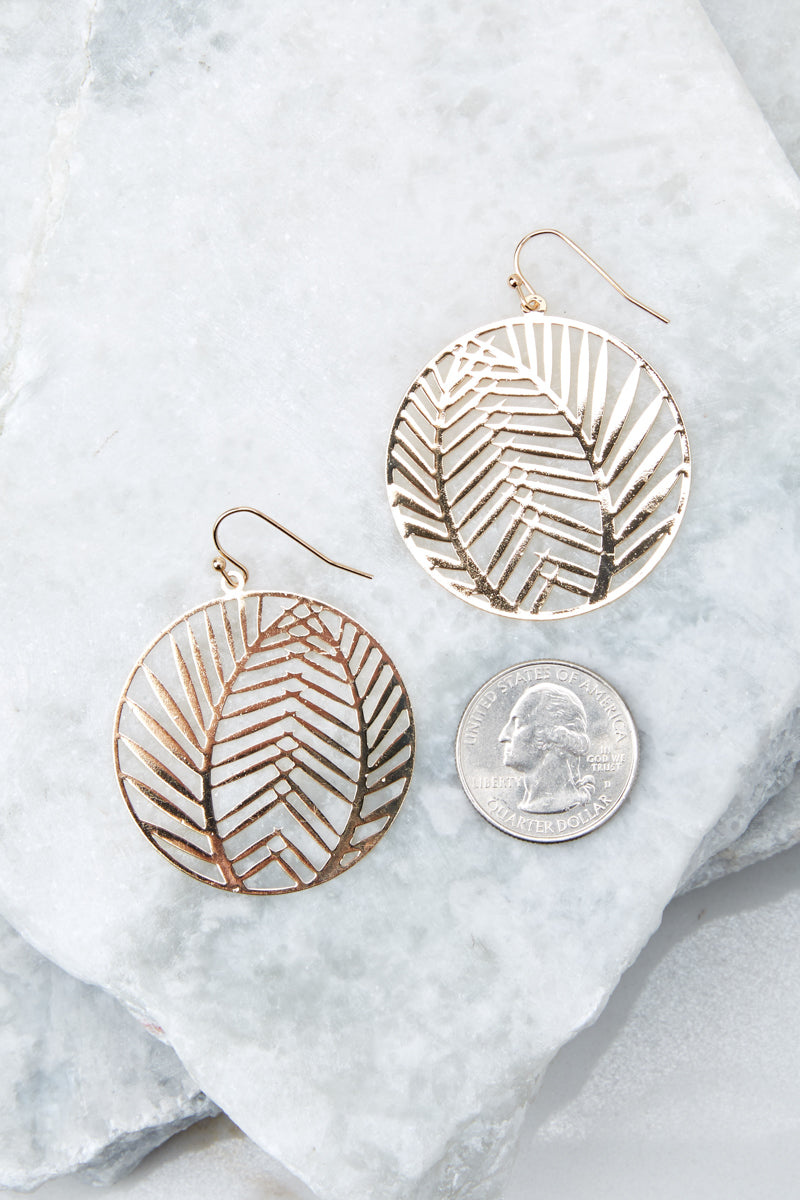 2 Leaf It Alone Gold Earrings at reddressboutique.com