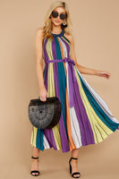 Belted Flowy Tie Waist Waistline Striped Print Halter Maxi Dress With a Sash