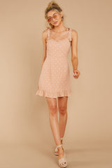 2 Keeping Cool Tan Polka Dot Dress at reddressboutique.com