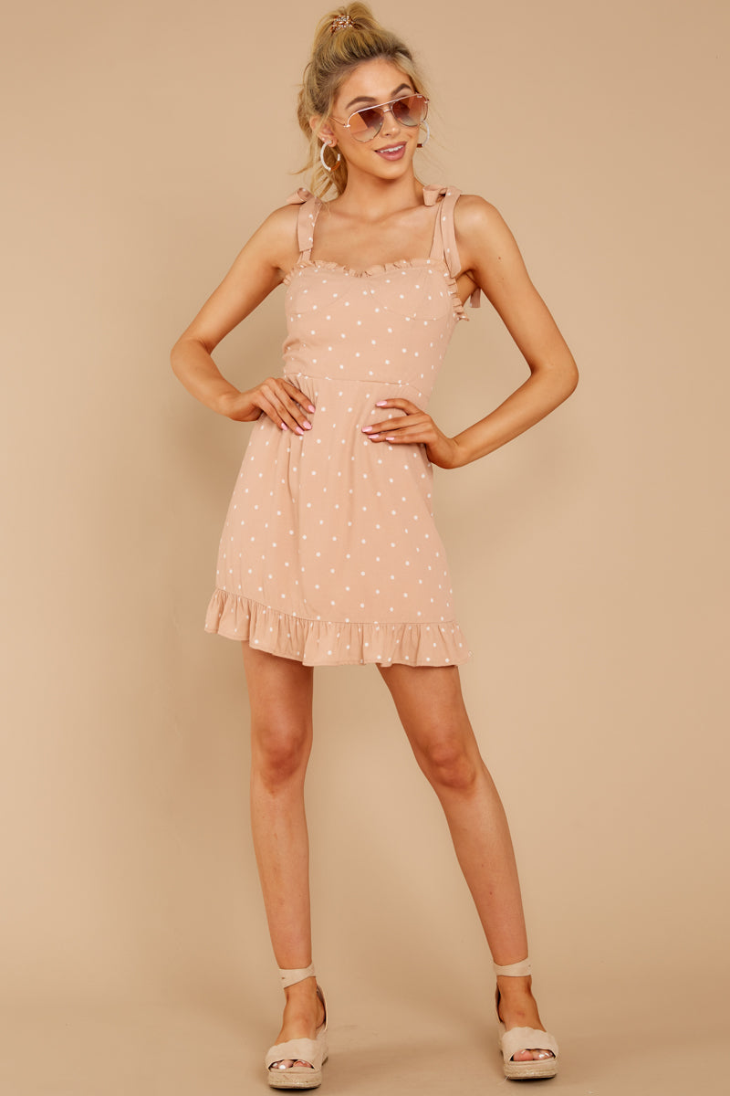 3 Keeping Cool Tan Polka Dot Dress at reddressboutique.com